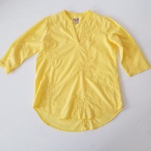 Chicos Yellow floral embroidered Top size 1
